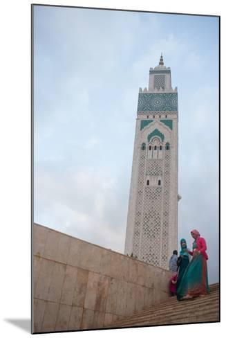 Women in Colorful Djelabas and Head Scarves Walk Down Stairs in Front of Hassan Ii Mosque, Morocco-Erika Skogg-Mounted Photographic Print