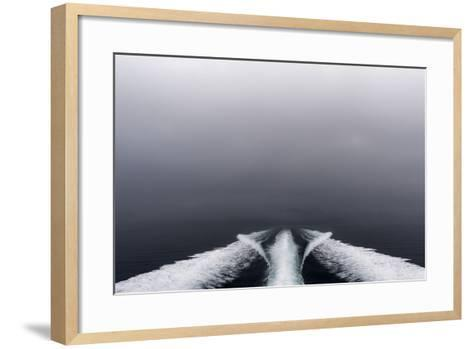 A Boat Wake Peels Out across the Still Waters of an Arctic Fjord-Jason Edwards-Framed Art Print