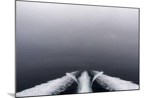 A Boat Wake Peels Out across the Still Waters of an Arctic Fjord-Jason Edwards-Mounted Photographic Print