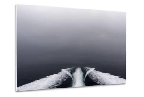 A Boat Wake Peels Out across the Still Waters of an Arctic Fjord-Jason Edwards-Metal Print