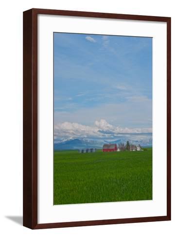 A Family Farm Sits Amid Wheat Fields Near Great Falls, Montana-Gordon Wiltsie-Framed Art Print