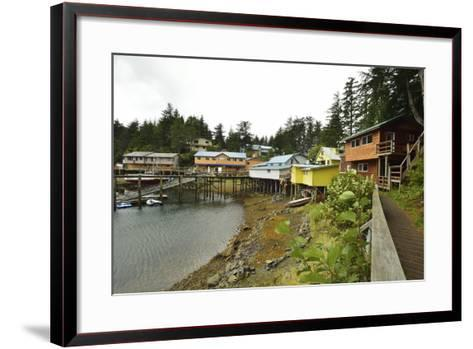 A Scenic View of the Harbor, Boardwalk and Homes Along Elfin Cove-Jonathan Kingston-Framed Art Print