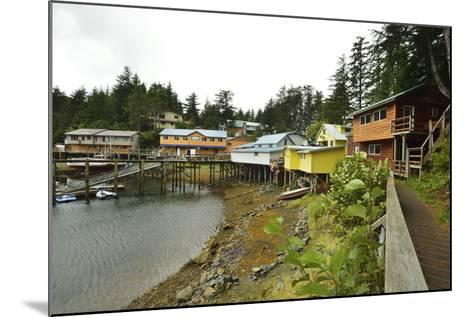 A Scenic View of the Harbor, Boardwalk and Homes Along Elfin Cove-Jonathan Kingston-Mounted Photographic Print