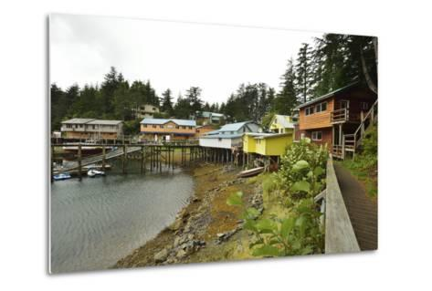 A Scenic View of the Harbor, Boardwalk and Homes Along Elfin Cove-Jonathan Kingston-Metal Print