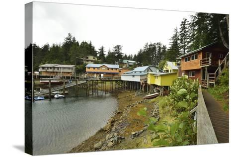 A Scenic View of the Harbor, Boardwalk and Homes Along Elfin Cove-Jonathan Kingston-Stretched Canvas Print