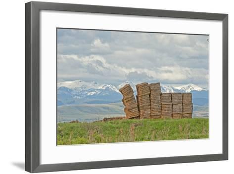 A Haystack Teeters in a Field in Montana's Gallatin Valley, Near Bozeman-Gordon Wiltsie-Framed Art Print