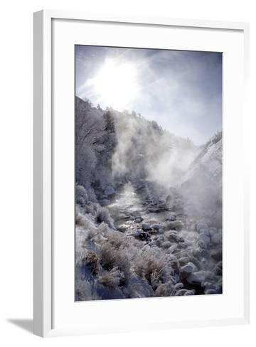 Steam Rising over the Snowy Banks of a Hot Spring-Robbie George-Framed Art Print