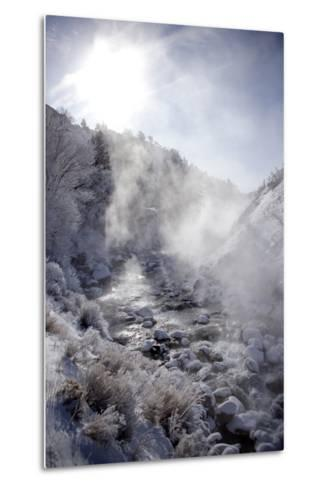 Steam Rising over the Snowy Banks of a Hot Spring-Robbie George-Metal Print