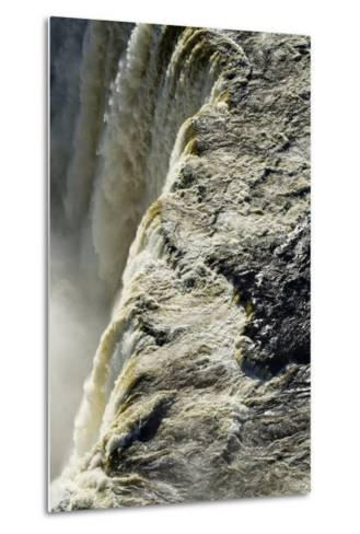 The Flooded Waters of the Zambezi River Pour over Victoria Falls, into the Cataract of First Gorge-Jason Edwards-Metal Print