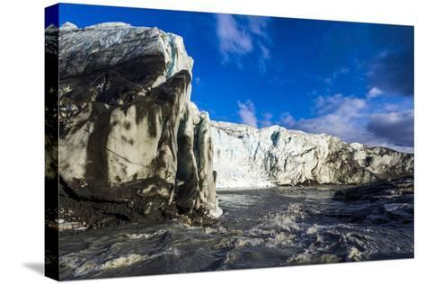 Erosion from Ice Against Rock Deposits Silt and Soil Sediment, Face of a Glacier Fracture Zone-Jason Edwards-Stretched Canvas Print