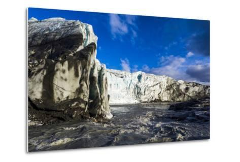 Erosion from Ice Against Rock Deposits Silt and Soil Sediment, Face of a Glacier Fracture Zone-Jason Edwards-Metal Print