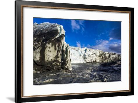 Erosion from Ice Against Rock Deposits Silt and Soil Sediment, Face of a Glacier Fracture Zone-Jason Edwards-Framed Art Print