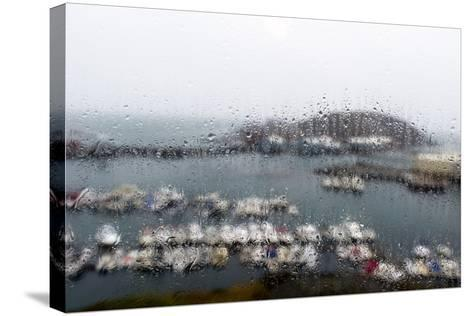 A Rain Storm Lashing a Window Overlooking a Fishing Boat Harbor-Jason Edwards-Stretched Canvas Print