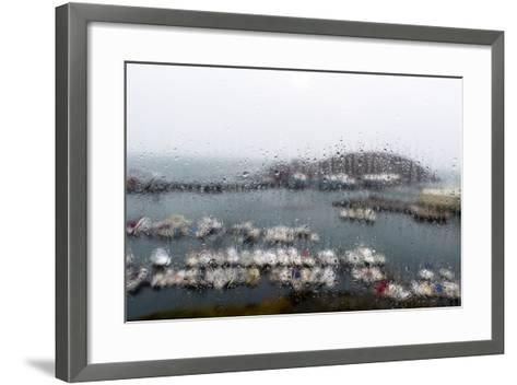 A Rain Storm Lashing a Window Overlooking a Fishing Boat Harbor-Jason Edwards-Framed Art Print