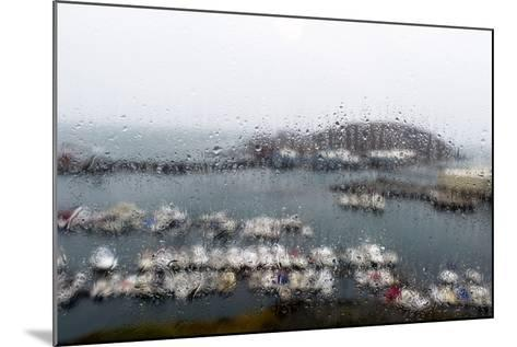 A Rain Storm Lashing a Window Overlooking a Fishing Boat Harbor-Jason Edwards-Mounted Photographic Print