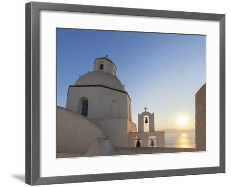 A Summer Sunset on the Mediterranean Island of Santorini, with a Historic Church and a Bell Tower-Babak Tafreshi-Framed Art Print