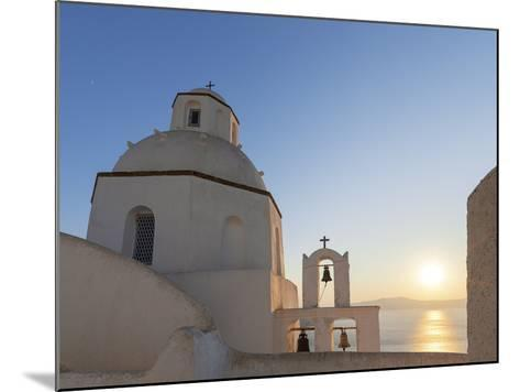 A Summer Sunset on the Mediterranean Island of Santorini, with a Historic Church and a Bell Tower-Babak Tafreshi-Mounted Photographic Print