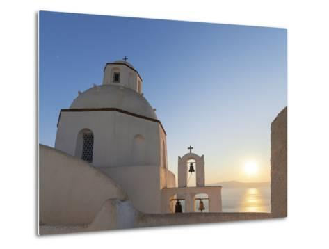 A Summer Sunset on the Mediterranean Island of Santorini, with a Historic Church and a Bell Tower-Babak Tafreshi-Metal Print
