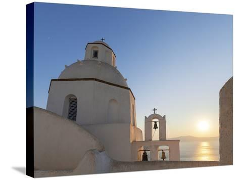 A Summer Sunset on the Mediterranean Island of Santorini, with a Historic Church and a Bell Tower-Babak Tafreshi-Stretched Canvas Print