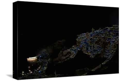 A Color Inverted Composite Image of Santorini Island at Night-Babak Tafreshi-Stretched Canvas Print