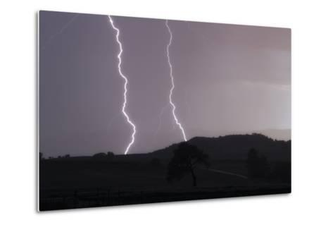 A Cloud-To-Ground Lightning Strike in a Mountainous Valley-Robbie George-Metal Print