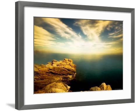 Sunlight Reflecting off Blue Waters off Cliffside-Jan Lakey-Framed Art Print