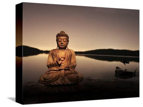 Golden Buddha Lakeside-Jan Lakey-Stretched Canvas Print