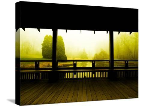 Covered Deck Looking onto Peaceful River and Fog-Jan Lakey-Stretched Canvas Print