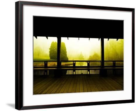 Covered Deck Looking onto Peaceful River and Fog-Jan Lakey-Framed Art Print