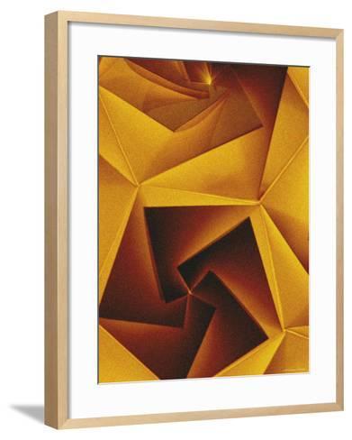 Golden Geometric Pentagons-Tim Kahane-Framed Art Print