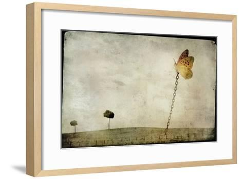 Oversized Butterfly Chained to Ground-Mia Friedrich-Framed Art Print