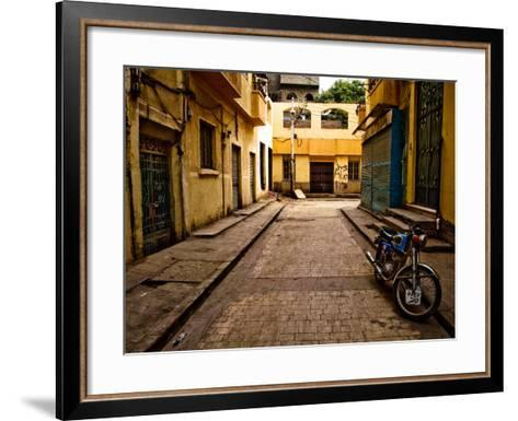 Back Street of Luxor Town, Egypt with Motorbike-Clive Nolan-Framed Art Print