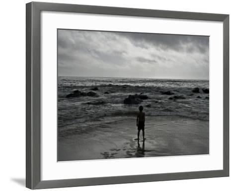 Child Standing at the Edge of Tide-Krzysztof Rost-Framed Art Print
