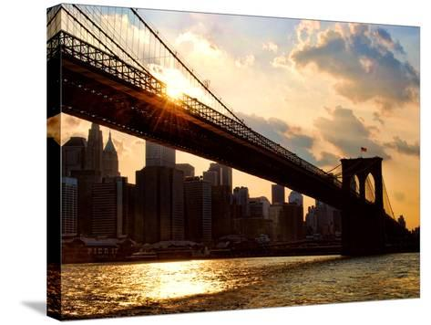 Brooklyn Bridge and Skyline, Manhattan, New York City-Sabine Jacobs-Stretched Canvas Print