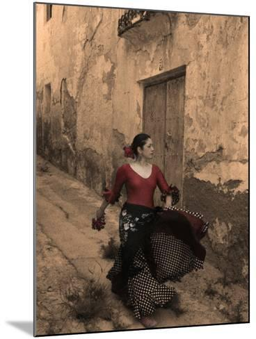 A Spanish Woman Walking Along a Traditional Spanish Street Wearing a Flamenco Style Dress-Steven Boone-Mounted Photographic Print