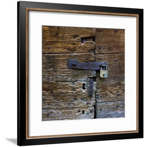 Old Wooden Door with Lock-Bernard Jaubert-Framed Art Print