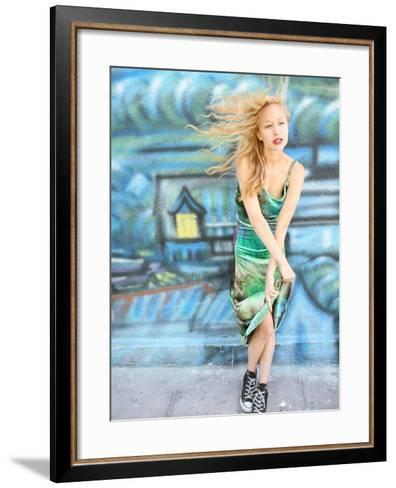 Young Alternative Woman with Blonde Hair Wearing Playful 90s Grunge Fashion Clothing-Jena Ardell-Framed Art Print