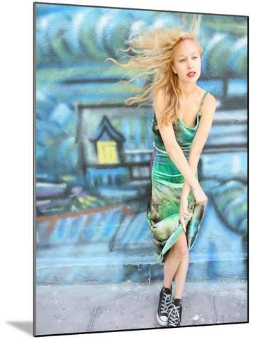 Young Alternative Woman with Blonde Hair Wearing Playful 90s Grunge Fashion Clothing-Jena Ardell-Mounted Photographic Print