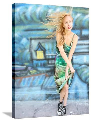 Young Alternative Woman with Blonde Hair Wearing Playful 90s Grunge Fashion Clothing-Jena Ardell-Stretched Canvas Print
