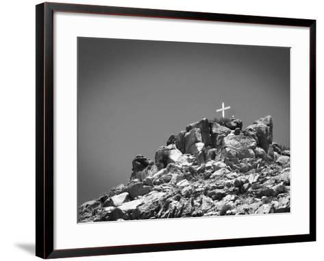Cross on Top of Sandia Mountain Boulder Mound Landscape in Black and White, New Mexico-Kevin Lange-Framed Art Print