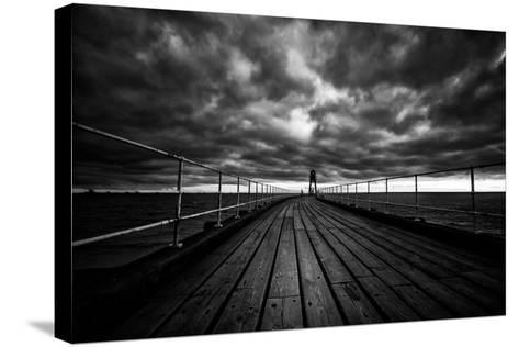 Whitby Pier-Rory Garforth-Stretched Canvas Print