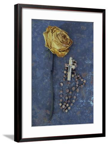 Squashed Dried Rose Once Cream And Now Brown-Den Reader-Framed Art Print