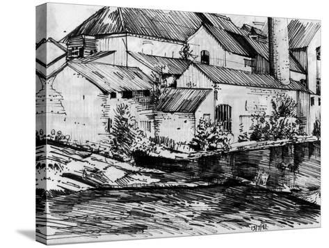The Old Mill On the Exe-Tim Kahane-Stretched Canvas Print
