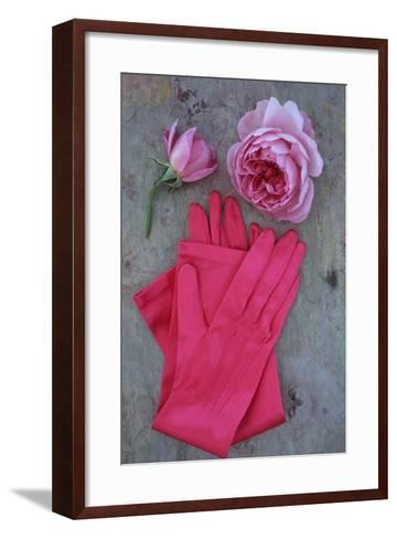 Red Gloves and Rose-Den Reader-Framed Art Print