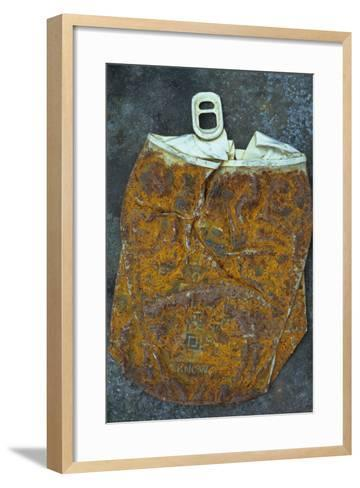 Squashed and Split Aluminium Drinks Can with Rusty Sides Lying on Tarnished Metal Sheet-Den Reader-Framed Art Print