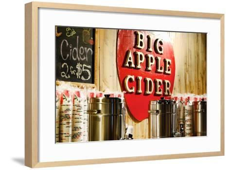 Big Apple Cider for Sale at the Christmas Market in Bryant Park,-Sabine Jacobs-Framed Art Print