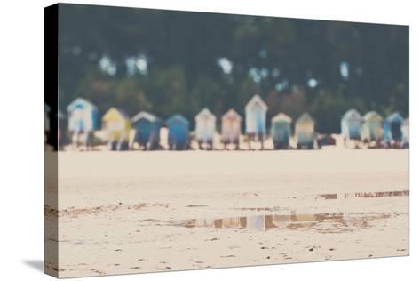 Beach Huts in England-Laura Evans-Stretched Canvas Print