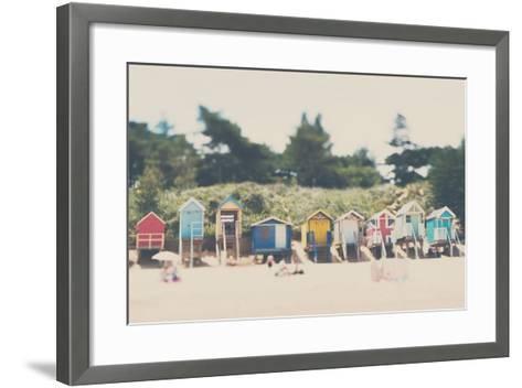 Beach Huts in England-Laura Evans-Framed Art Print