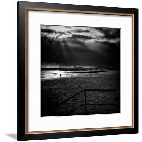 Beach Scene in England with Pier-Rory Garforth-Framed Art Print