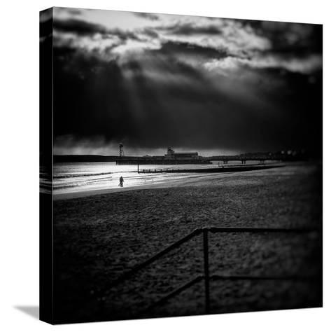 Beach Scene in England with Pier-Rory Garforth-Stretched Canvas Print